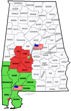 Alabama map showing counties under the jurisdiction of the U.S. District Court, Southern District of Alabama.